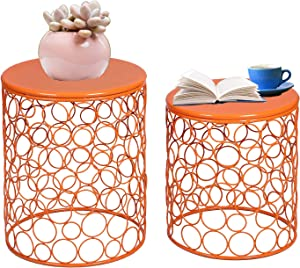 Adeco Home Garden Bubble Pattern Metal Stool, Decorative Accent Display Plant Stand, Side Table, End Table - Bohemian Chic Openwork Lattice Design, Set of 2