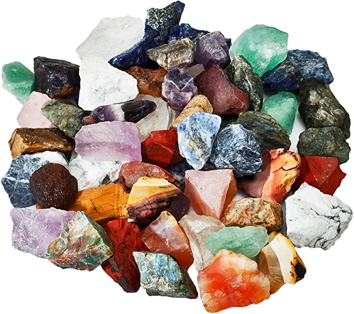 SUNYIK Natural Raw Stones Rough Rock Crystals for Tumbling,Cabbing,Assorted Stones,1pound(About 460 Gram)