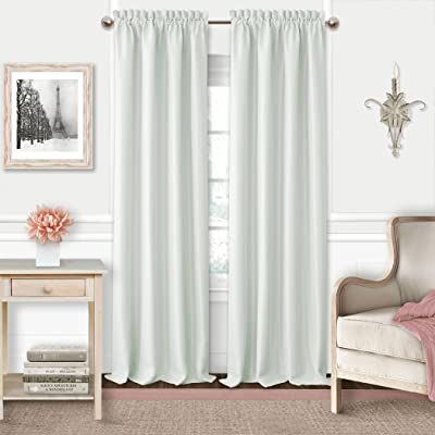 Adaline Kids Pastel Faux Silk Solid Color Blackout Room Darkening Thermal Insulating Window Curtain/Single Rod Pocket Panel by Elrene, 52 Inch Wide X 63 Inch Long, Pearl Gray: Home & Kitchen