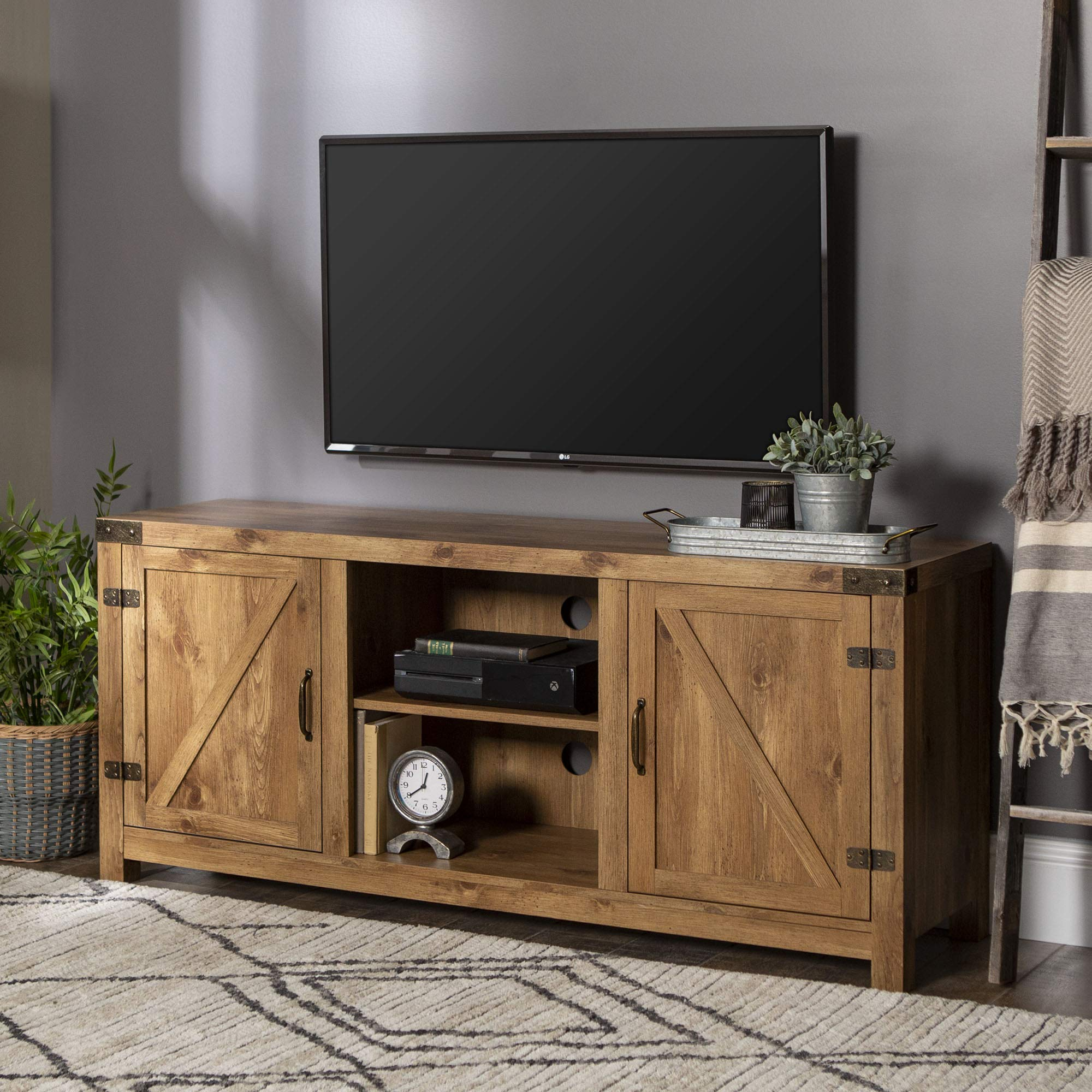 WE Furniture Barn Door TV Stand One Size Barnwood by WE Furniture