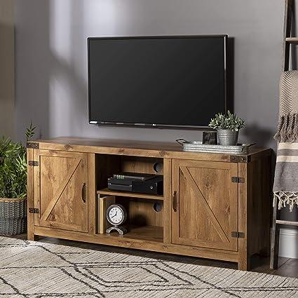 Amazoncom We Furniture Barn Door Tv Stand One Size Barnwood Home
