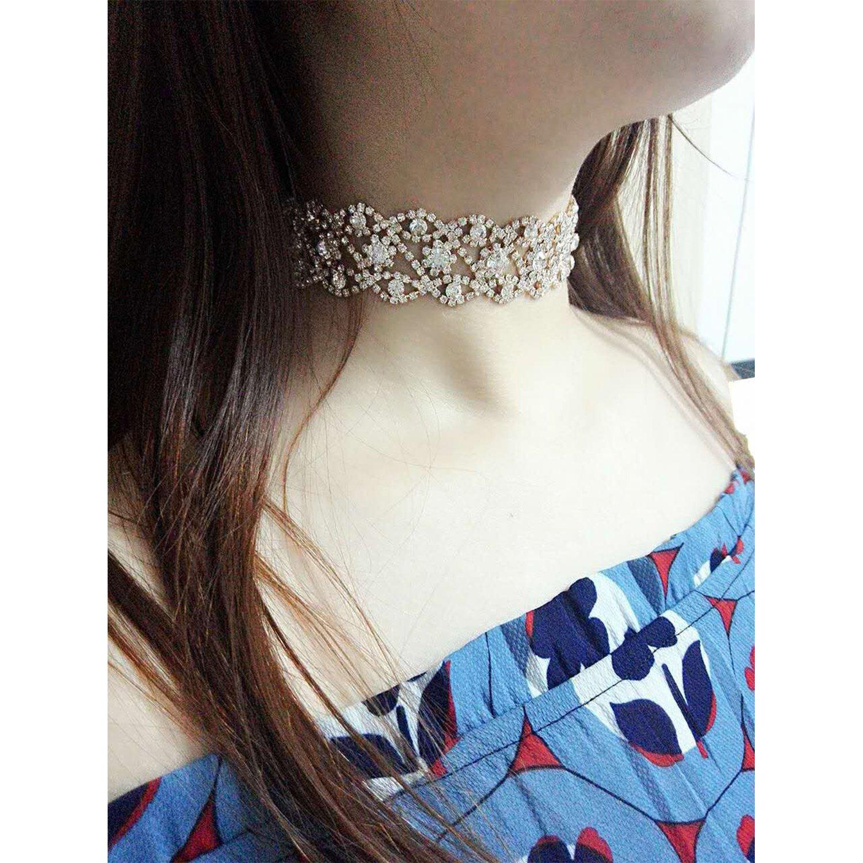 Croozy Womens Clear Rhinestone Choker Girls Crystal Necklace Wedding Collar Party Choker Necklace B07DSG545V/_US