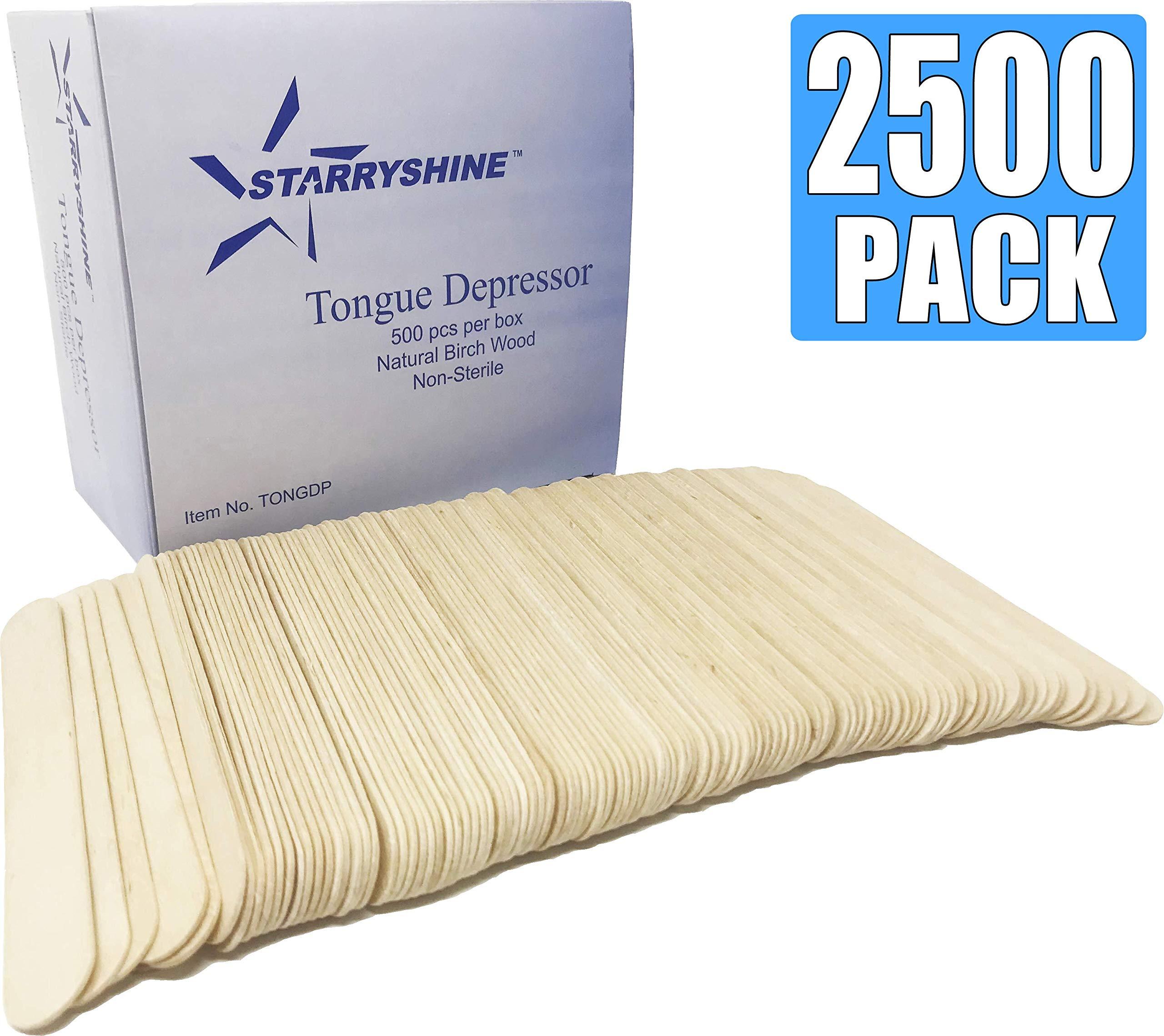 Tongue Depressors Non-STERILE Standard Size 6''x0.75'', Premium Natural Birch Wood Craft Sticks (2500 PCS (5 BX)) by Starryshine (Image #1)