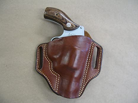 Smith & Weson S&W 36, 60, 640, 642, 442 Leather 2 Slot Molded Pancake Belt  Holster TAN RH