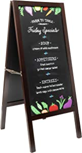 """Sidewalk Chalkboard, Large, 41"""" Tall, Mahogany Finish, Heavy Duty A-Frame, Indoor/Outdoor Professional Magnetic Surface, 2-Sided Chalkboard Sign. Show Your customers What's on Your menu!"""