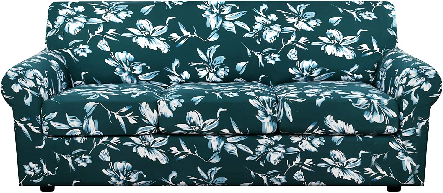 H.VERSAILTEX Super Stretch 4 Pieces Sofa Covers for 3 Cushion Couch Covers Sofa Slipcovers Feature Soft Thick Bouncy Mondern Style with Individual Cushion Covers Pet Friendly - Sofa, Dark Teal