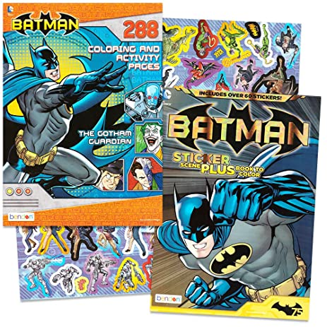 DC Comics BATMAN Coloring Activity Book Set With Stickers 2 Books Over