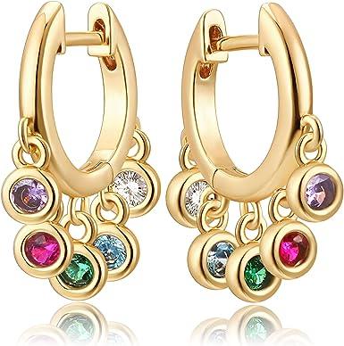 Women 18K Gold Plated Multi-color Cubic Zirconia CZ Drop Earrings Gift stone gold hoops huggie dangle cluster jewel charm