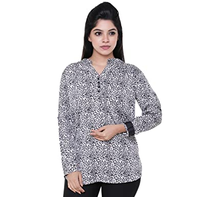 0fee236dfb Champa Women s Black   White Cheetah Printed Casual Party Wear 3 4th Sleeve  Short Kurti Top  Amazon.in  Clothing   Accessories