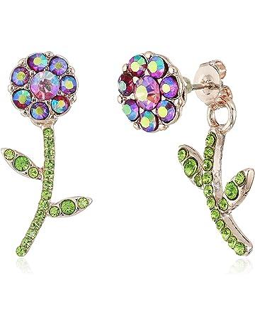 86a7486a1 Betsey Johnson Flower Front Back Earrings-Jackets, Purple, One Size