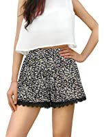 Allegra K Women's Allover Printed Lace Trim Elastic Waist Shorts