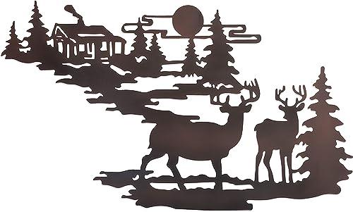 Deer Woodland Cabin Metal Wall Art – Iron Deer Wall Decor- Forest Cabin Wall Decor- Rustic Metal Wall Cabin Deer Hanging Kit- Deer Relief Metal Wall Art