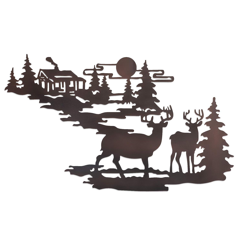 Deer & Woodland Cabin Metal Wall Art - Iron Deer Wall Decor- Forest Cabin Wall Decor- Rustic Metal Wall Cabin & Deer Hanging Kit- Deer Relief Metal Wall Art