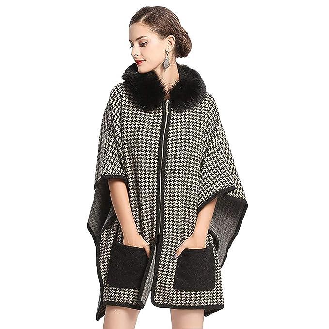 Outerwear Mujer Otoño Invierno Chaqueta Elegantes Moda Vintage Chal Hoystooth Cremallera Sintético Piel Dama Capa Abrigos Fiesta (Color : Colour, ...