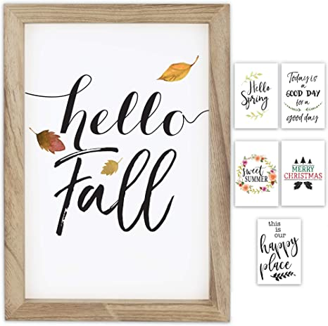 Amazon Com Farmhouse Wall Decor Signs With 6 Interchangeable Sayings For Fall Christmas Decorations Easy To Hang 11x16 Rustic Wood Picture Frame Incl 6x Designs The Perfect Fall Decor For