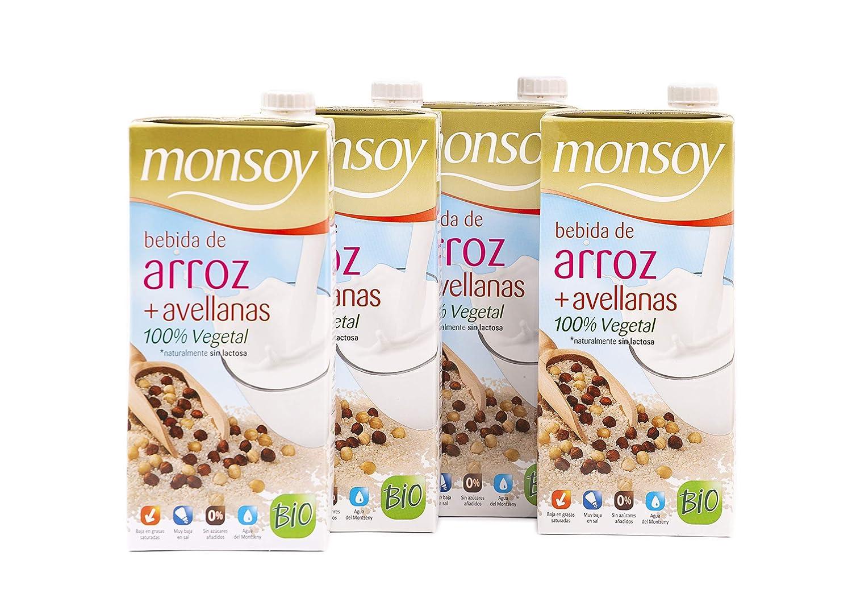 Monsoy - Bebida Ecológica de Arroz con Avellanas - Caja de 4 x 1L