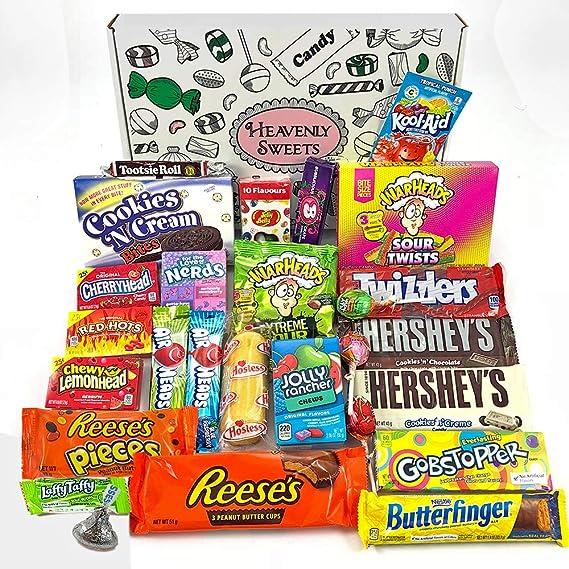 Gran cesta con American Candy | Caja de caramelos y Chucherias Americanas | Surtido de 27