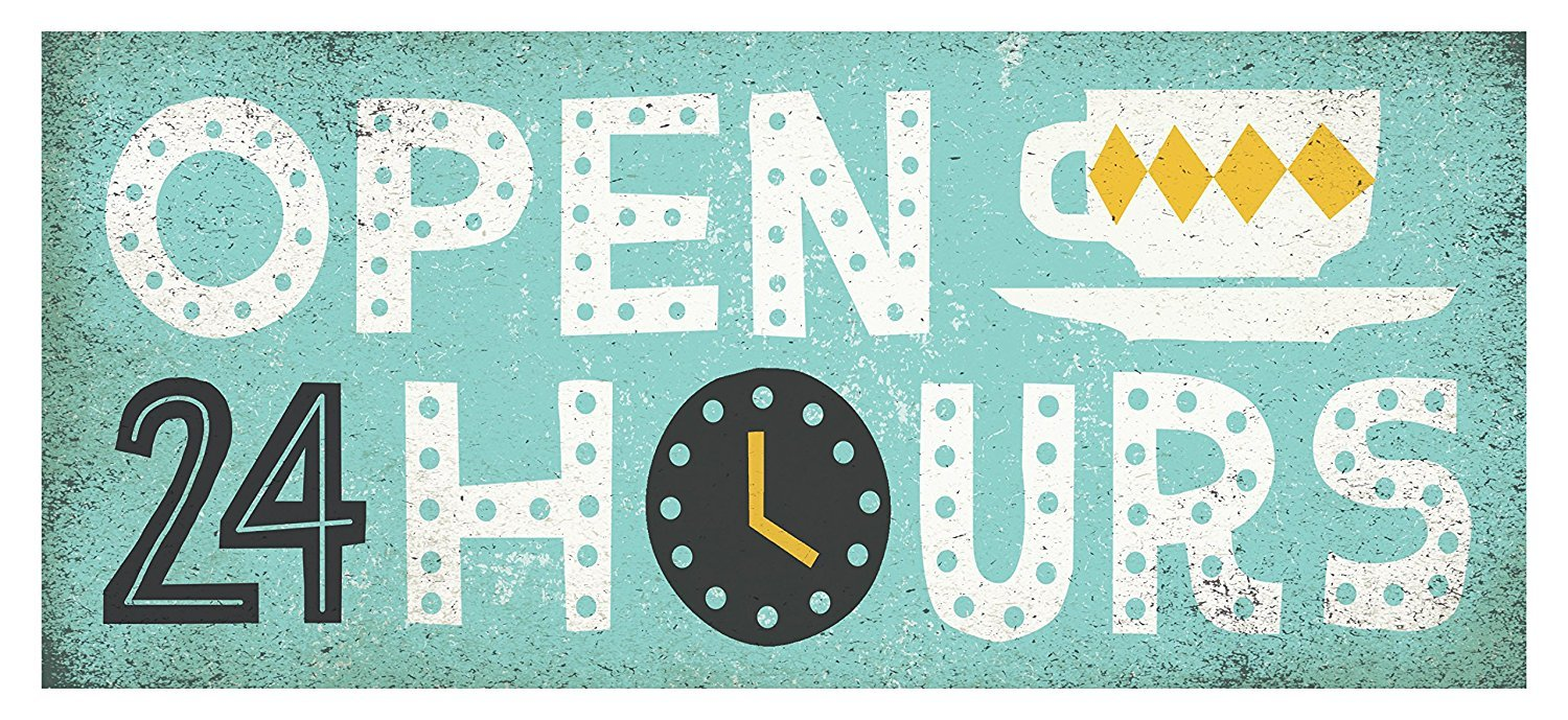 Gango Home Décor Adorable Grey, Teal and Yellow Open 24 Hours Print by Michael Mullan; Kitchen Decor; One 20x8in Unframed Paper Posters