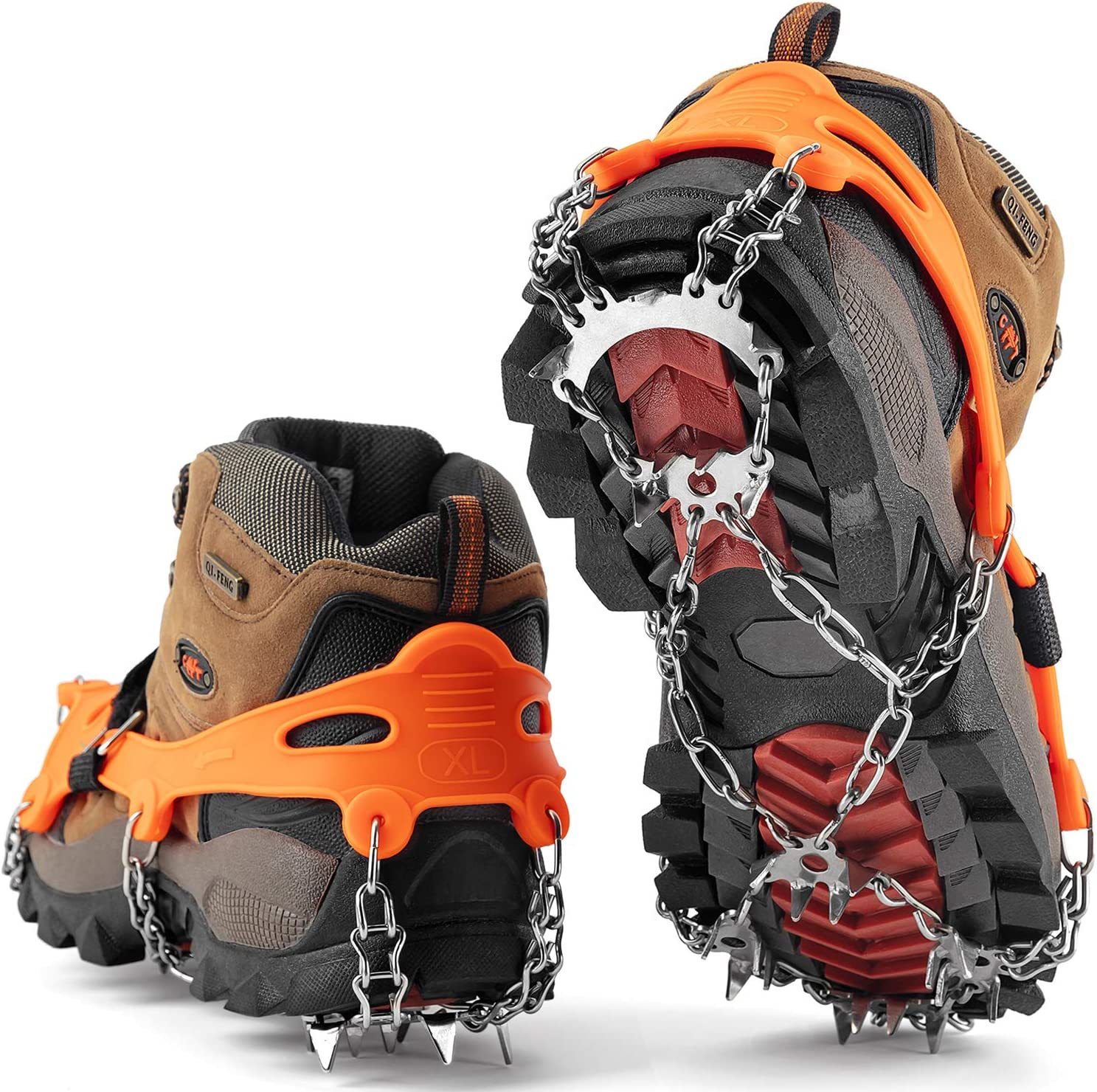 SHARKMOUTH Crampons Ice Traction Cleats, Ice Snow Grips for Boots and Shoes, Anti Slip 23 Stainless Steel Spikes, Safe Protect for Walking, Jogging, Climbing or Hiking on Snow and Ice
