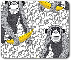 Comfortable Mouse Mat - Cheeky Monkey Kids Funny Banana 23.5 x 19.6 cm (9.3 x 7.7 inches) for Computer & Laptop, Office, Gift, Non-Slip Base - RM13207