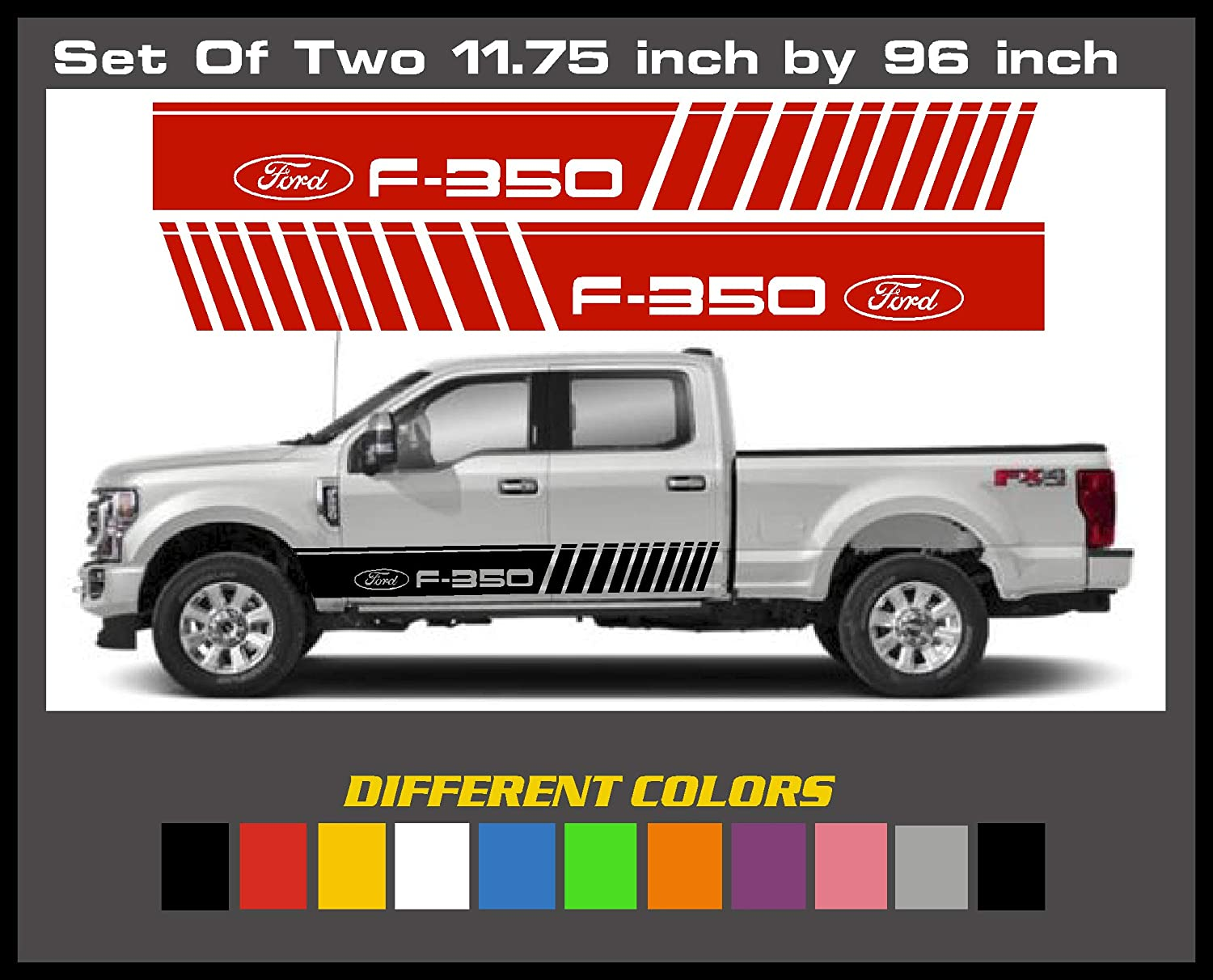 Set of 2-11.75 inch by 96 Inches Ford F-350 Truck Side Stripe Slash Mark Die Cut Decal Kit 6 to 8 Year Outdoor Life Sticker Graphic Stripe. Emblem