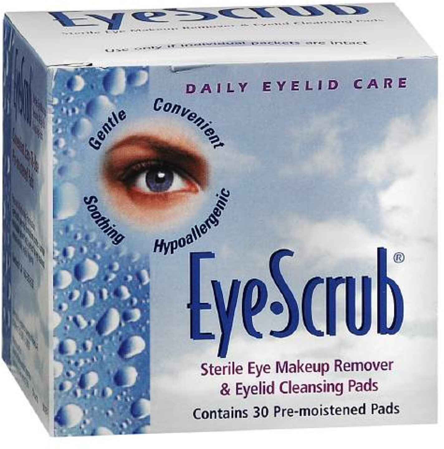 Eye Scrub Sterile Eye Makeup Remover & Eyelid Cleansing Pads 30 ea (Pack of 12)
