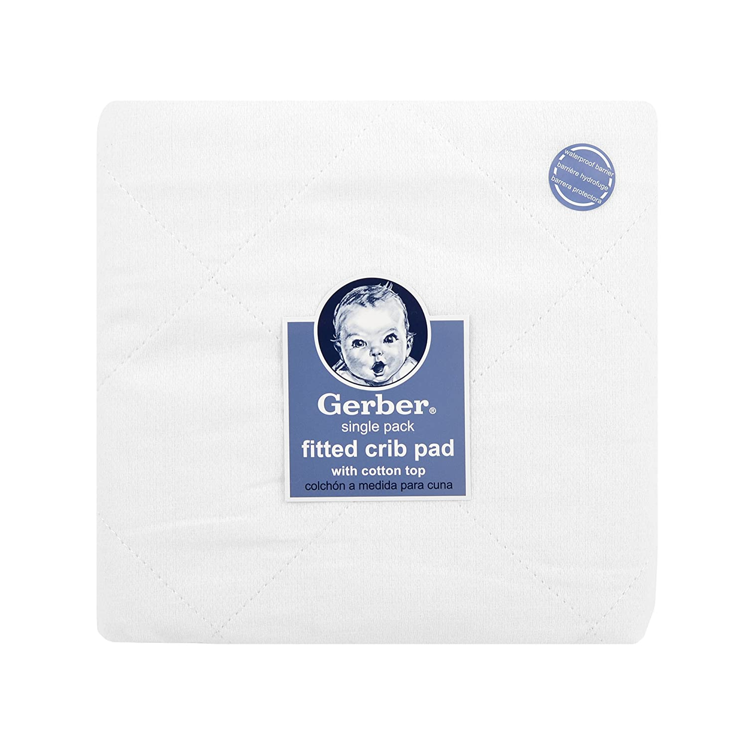 Amazon.com : Gerber Quilted Fitted Crib Pad with Waterproof Barrier, White, 28