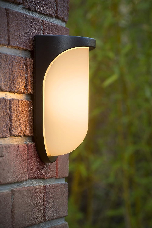 Lucide Lugo - Lámpara de pared exterior - LED - 1 x 8 W 3000 K - IP44 - Negro: Amazon.es: Iluminación