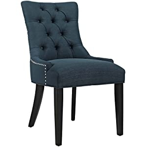 Modway Regent Modern Tufted Upholstered Fabric Kitchen and Dining Room Chair with Nailhead Trim in Azure