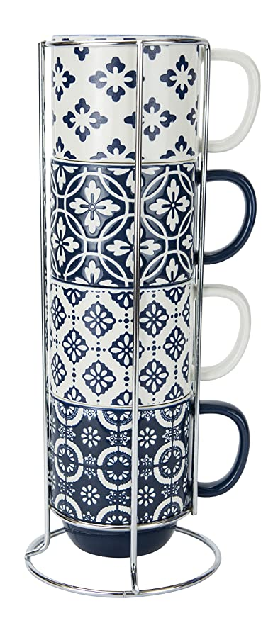 Amazoncom True Blue Stacked Mugs With Stand 14 Ounce Capacity