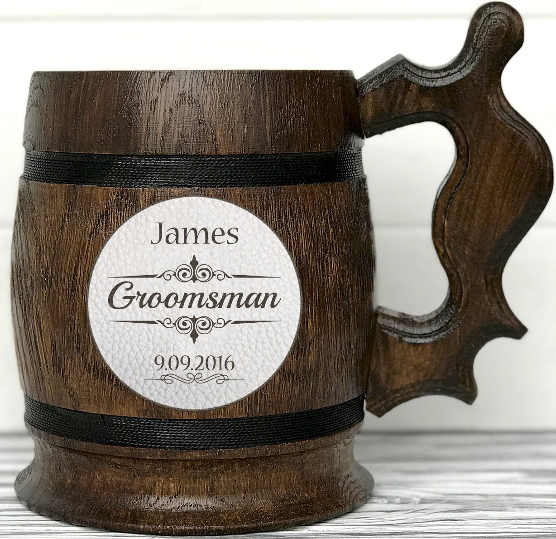 Personalized Wooden Beer Mug. Personalized Groomsmen Gift. Natural Leather. Groomsman Wooden Beer Mug. Groomsman Gift. Wedding Gift. Groom Beer Mug. Best Man Gift. Personal Gift for Men. Wood Mug. K2