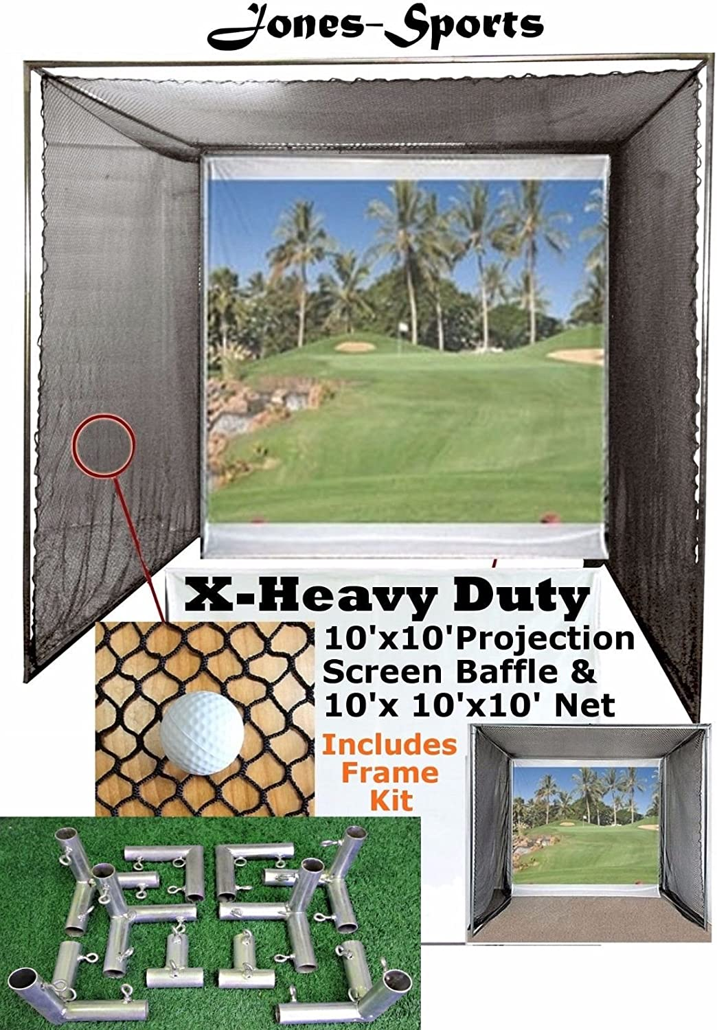 Jones Sports 10 x10 Golf Impact Projection Screen Baffle 10 x10 x10 Net with or Without Frame kit
