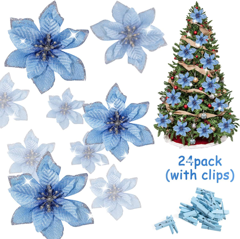 Christmas Poinsettia Glitter Flower Bow Clip Xmas Tree Wedding Party Decor Hot