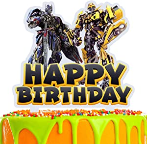 Robot Cake Topper Cartoon Alien Robot Happy Birthday Theme Decor for Baby Shower Birthday Party Acrylic Decorations Supplies
