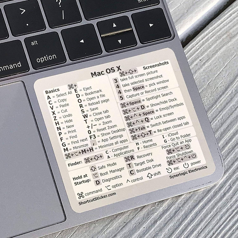SYNERLOGIC Mac OS (Big Sur/Catalina/Mojave) Reference Keyboard Shortcut Cheat Sheet Sticker - White Vinyl, No-Residue Adhesive, Size 3