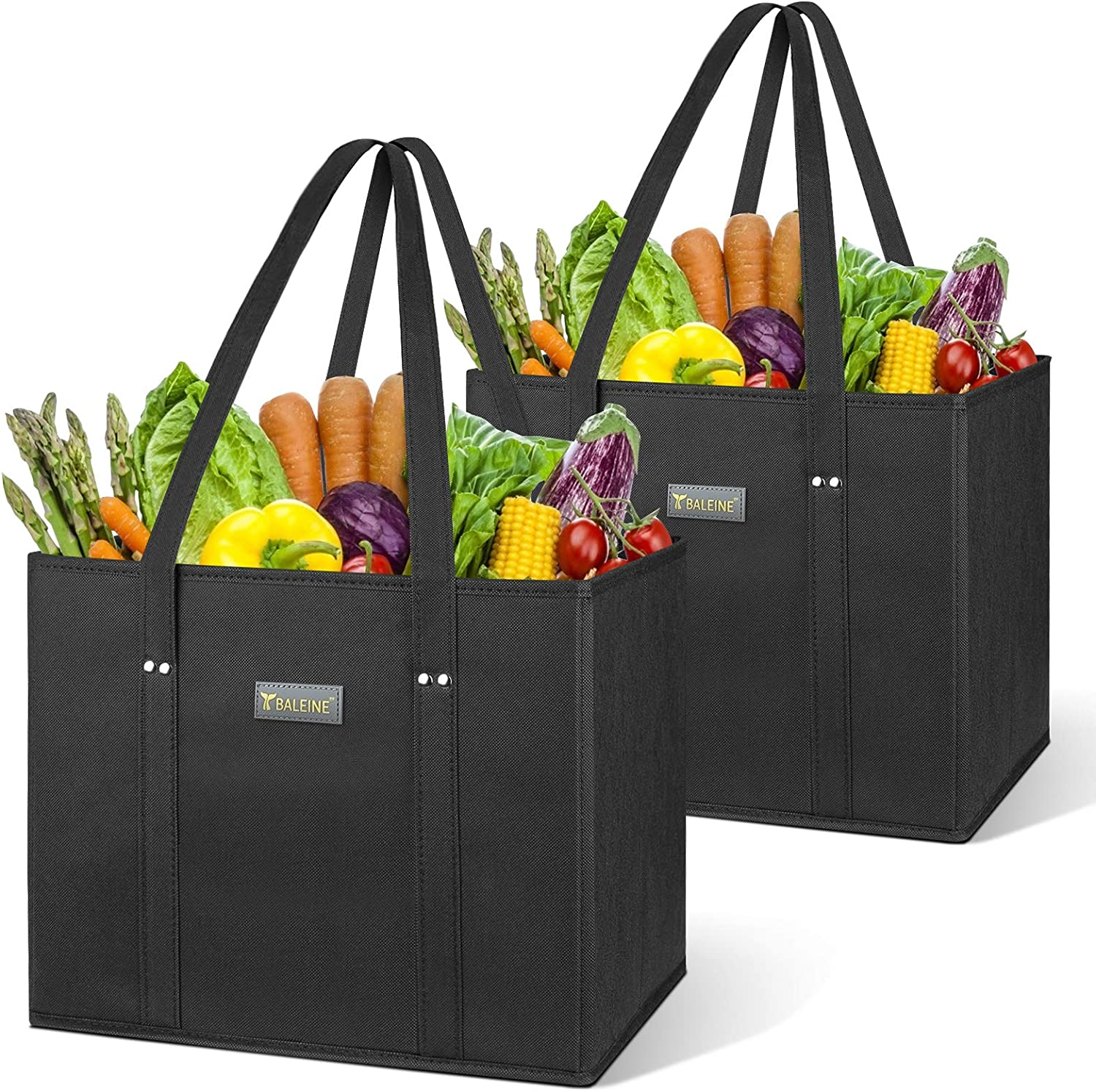 BALEINE 2 Pack Reusable Grocery Shopping Box Bag Set with Reinforced Bottom & Handles, Large Heavy Duty Eco Friendly Collapsible Foldable Bags in Bulk Fit in Shopping Cart (Black)