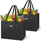 BALEINE 2 Pack Reusable Grocery Shopping Box Bag Set with Reinforced Bottom & Handles, Large Heavy Duty Eco Friendly Collapsi