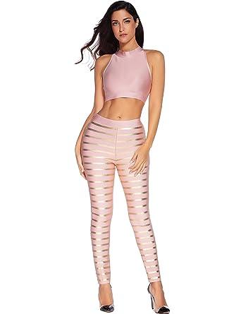 611cb873604d Meilun Women Oil Print Striped Two Pieces Bandage Top Leggings Pants ...