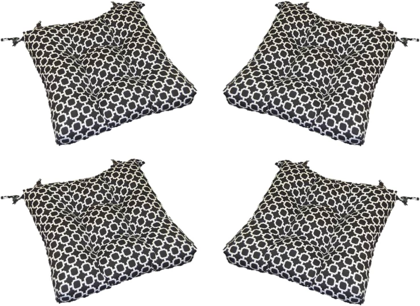 Resort Spa Home Decor Set of 4 – Indoor Outdoor Black White Geometric Hockley Universal Tufted Seat Cushions with Ties for Dining Patio Chairs – Choose Size 16 x 16
