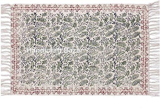 Alfombra india de 100 % algodón étnico, tamaño grande, con impresión de bloque de mano de