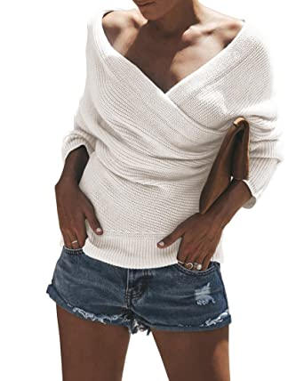 4469b2a000beac Image Unavailable. Image not available for. Color: FISACE Womens V Neck Off Shoulder  Pullover Bat Sleeve Criss Cross Wrap Knit Sweaters