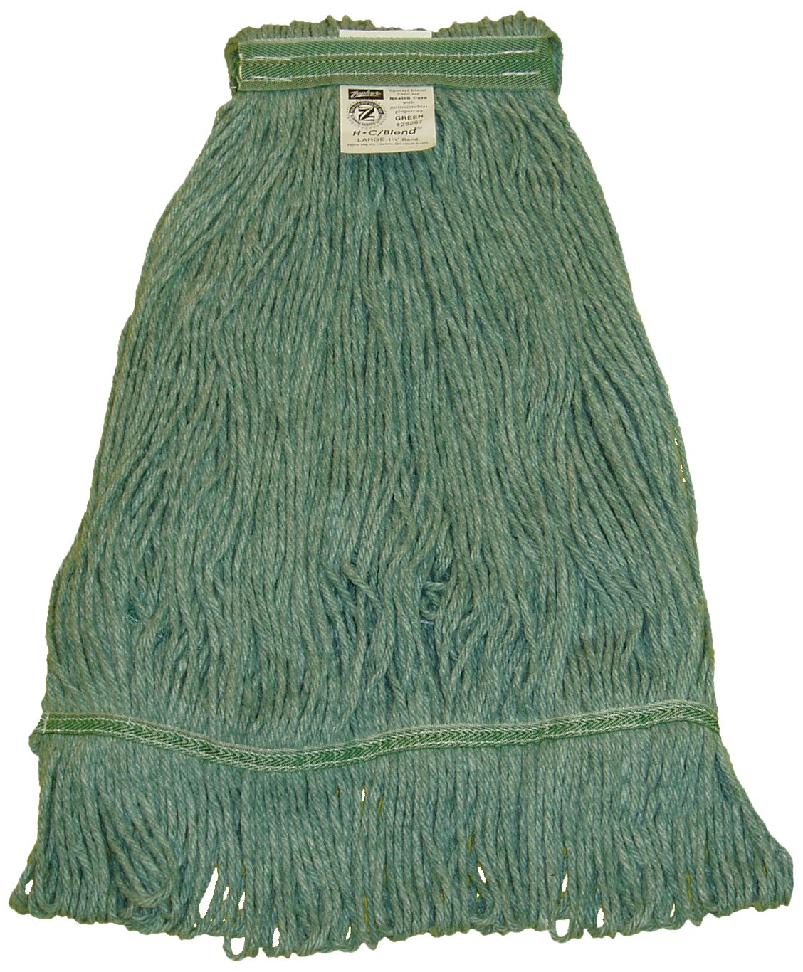 Zephyr 28267 HC/Blend Green 4-Ply Yarn Large Health Care Loop Mop Head with 1-1/4'' Narrow Headband (Pack of 12)