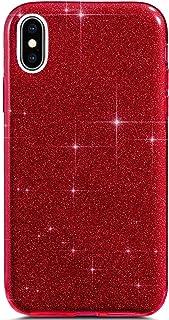 Felfy Compatible avec iPhone XS Max Coque Glitter Luxe Paillettes Brillant Étui en Silicone Gel TPU Souple Housse Etui Case Ultra-Fine Transparent Crystal 3-1 shockproof Bumper Case,Rouge