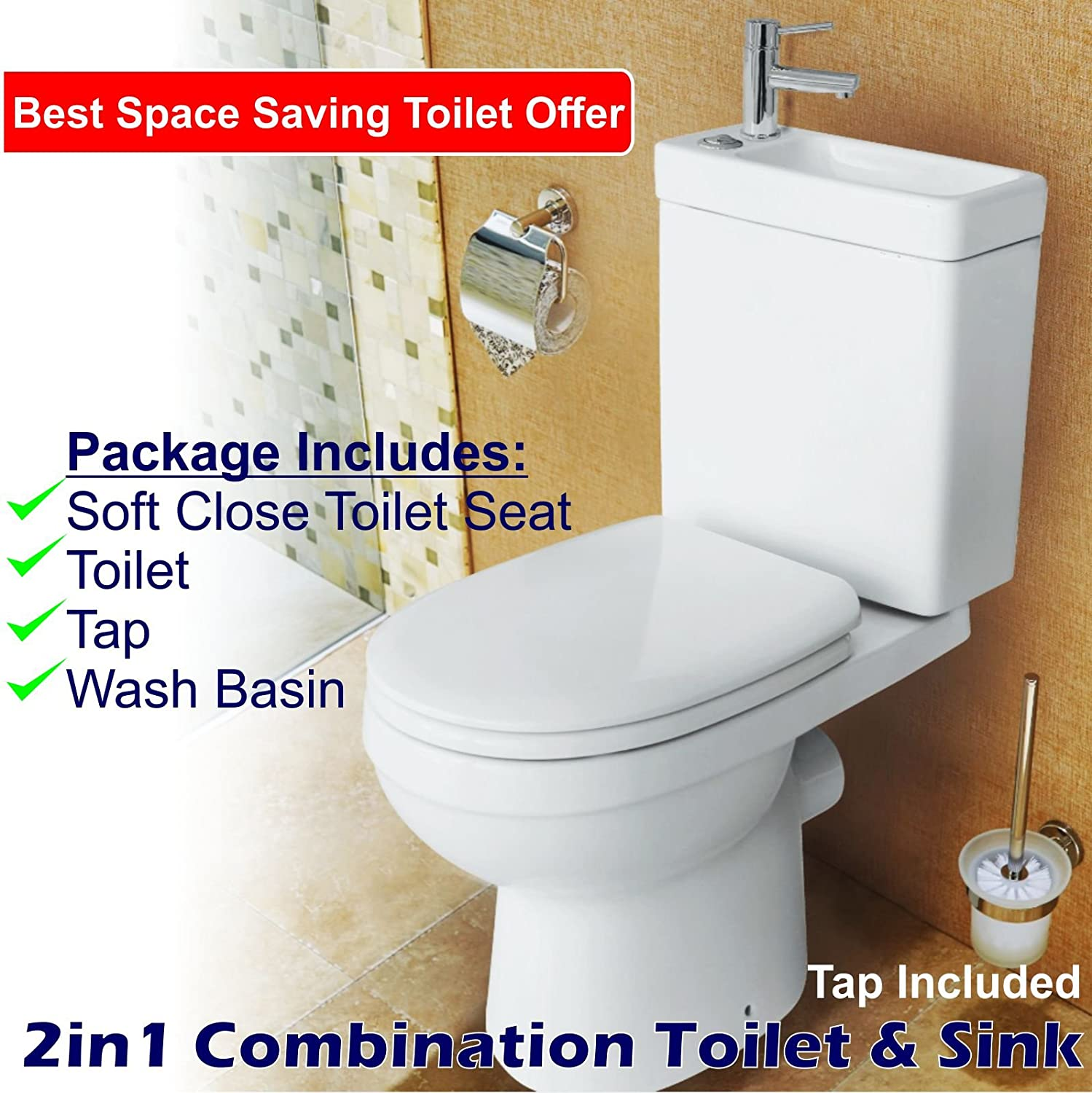 2in1 Combo Combination Toilet & Sink Together Wash Basin Bathroom WC ...