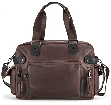 d1d87a0a5c5b Yuluo – Vintage Brown Faux Leather  Bermondsey  Duffel Bag Holdall with  Black Detailing