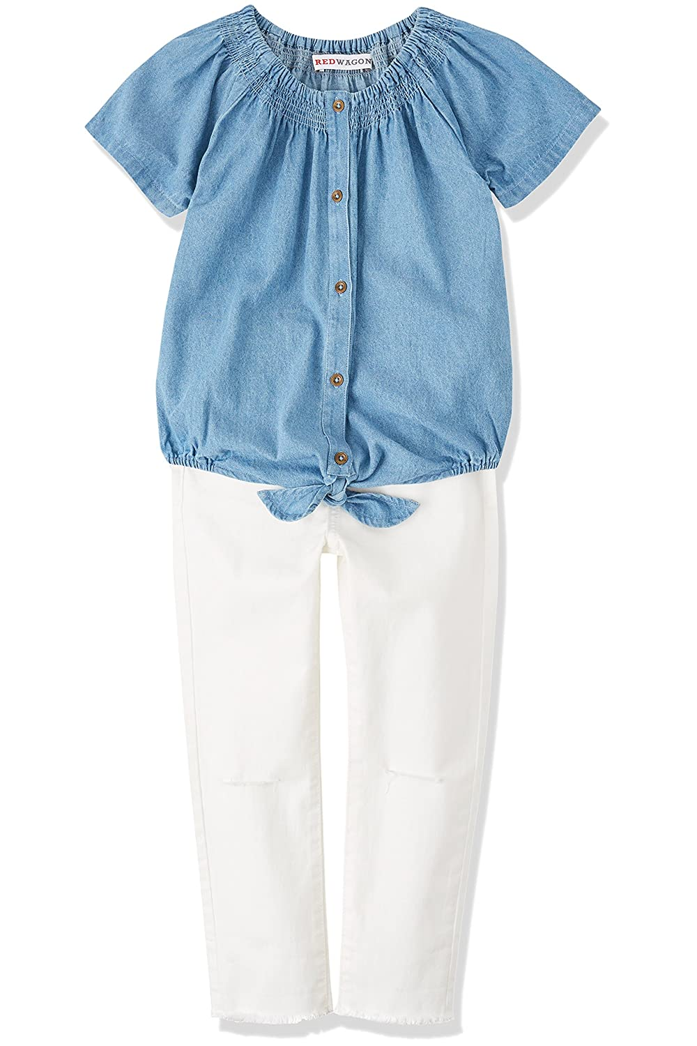 RED WAGON Girl's Chambray Tie Knot Short Sleeve Blouse: Amazon.co.uk:  Clothing