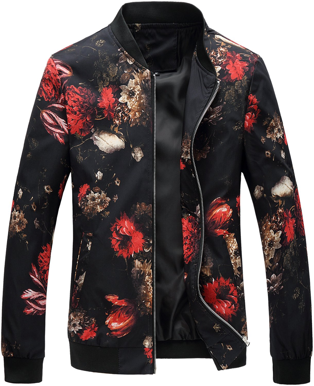 HENGAO Men's Casual Zipper Front Flowers Print Lightweight Varsity Jacket, JK776 Black, S/36 = Tag L by HENGAO