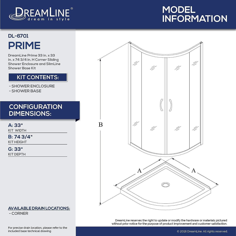 DreamLine Prime 33 in. D x 33 in. W Kit, with Corner Sliding Shower ...