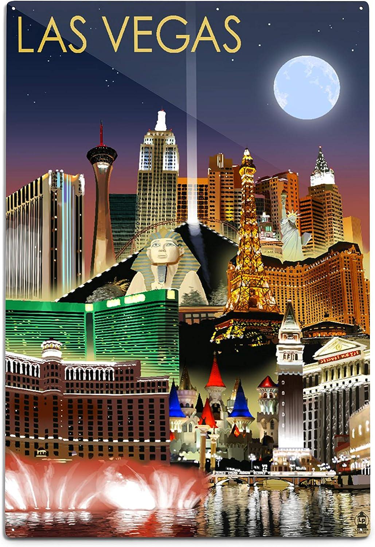 Las Vegas Black White City Night Cityscape Picture Fabric Wall Sticker Poster