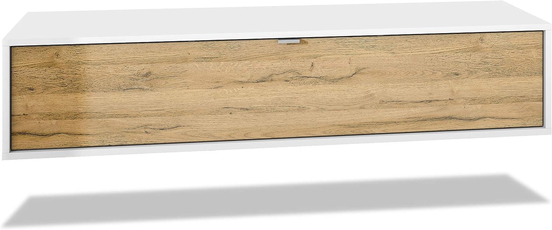 Mueble televisor Lana 140 Mueble de Pared para televisión 140 x 29 x 37 cm, Cuerpo en Blanco Mate, Frentes en Roble Natural   Gran Variedad de Colores